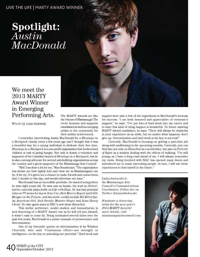 Spotlight on Performing Arts Winner, Austin MacDonal